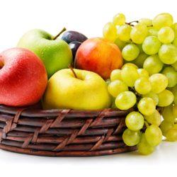 grapes apples basket fruits